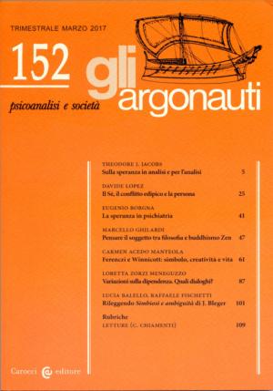 Copertina Gli Argonauti Rivista di Psicoanalisi Numero 152 Marzo 2017. Abstract 152