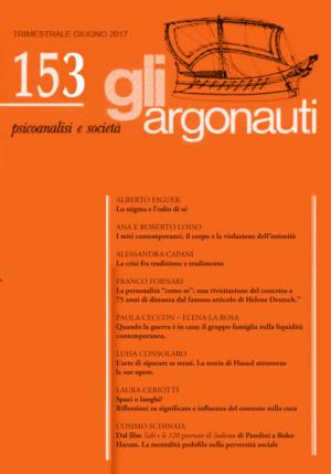 Abstract del numero 153 della rivista di Psicoanalisi e Società Gli Argonauti. Giugno 2017