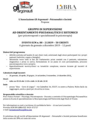 Gruppo di supervisione a orientamento psicoanalitico e sistemico